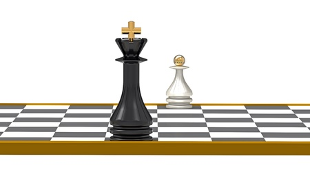 King and Pawn on Chessboard, 3D Render photo