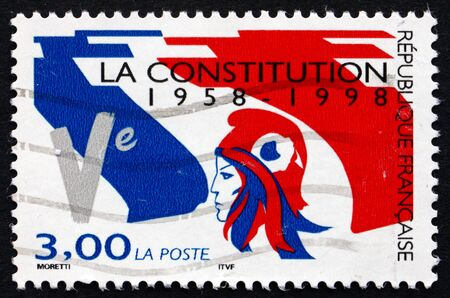 FRANCE - CIRCA 1998: a stamp printed in the France shows French Flag, 5th Republic, 40th Anniversary, circa 1998