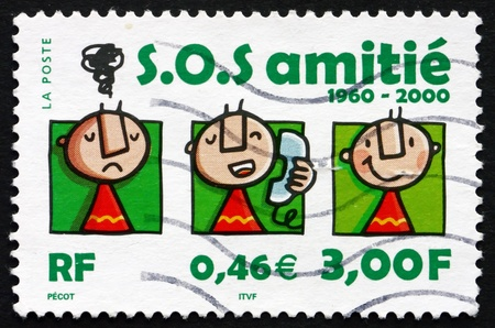 FRANCE - CIRCA 2000: a stamp printed in the France shows S.O.S. Amitie, 40th Anniversary, circa 2000