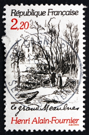 novelist: FRANCE - CIRCA 1986: a stamp printed in the France shows Scene from Le Grand Meaulnes, by Henry Alain-Fournier, Novelist, circa 1986 Editorial