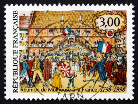 treaty: FRANCE - CIRCA 1998: a stamp printed in the France shows Union of Mulhouse with France, Bicentenary, Treaty of Mulhouse, circa 1998 Editorial