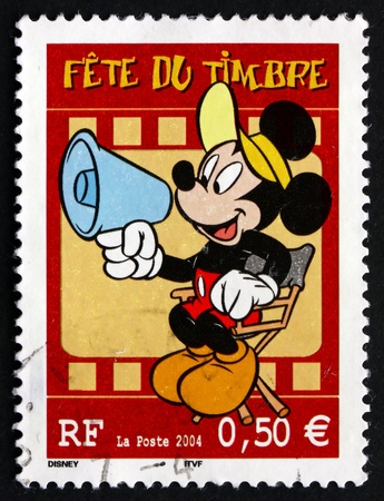 antique stamps: FRANCE - CIRCA 2004: a stamp printed in the France shows Mickey Mouse, Comic Character by Walt Disney, circa 2004