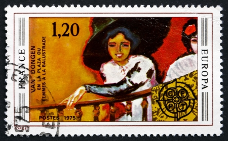 FRANCE - CIRCA 1975: a stamp printed in the France shows Woman on Balcony, Painting by Kees van Dongen, circa 1975