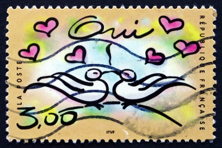 FRANCE - CIRCA 1999: a stamp printed in the France shows Yes, Marriage, Announcement, circa 1999