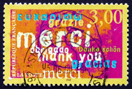 FRANCE - CIRCA 1999: a stamp printed in the France shows Thank You, Announcement, circa 1999