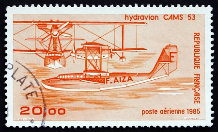 FRANCE - CIRCA 1985: a stamp printed in the France shows CAMS-53 Seaplane, Training Flying Boat, 1922, circa 1985