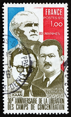 imprisoned: FRANCE - CIRCA 1975: a stamp printed in the France shows French Flag and French Resistance Leaders, Imprisoned in Concentration Camps, circa 1975
