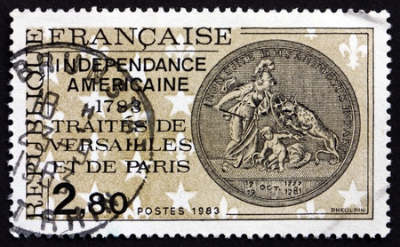 treaties: FRANCE - CIRCA 1983: a stamp printed in the France shows Treaties of Versailles and Paris Bicentenary, End of American Revolutionary War, circa 1983
