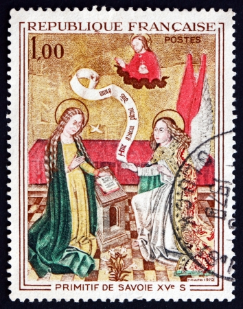 FRANCE - CIRCA 1970: a stamp printed in the France shows Annunciation, by Primitive Painter of Savoy, 1480, circa 1970