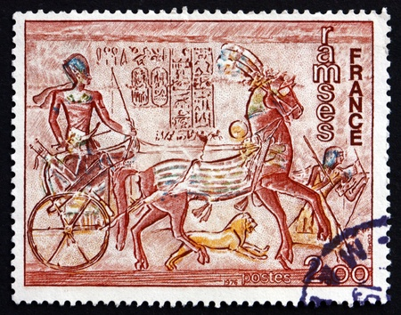 FRANCE - CIRCA 1976: a stamp printed in the France shows Ramses II from Abu Simbel Temple, Eqypt, circa 1976