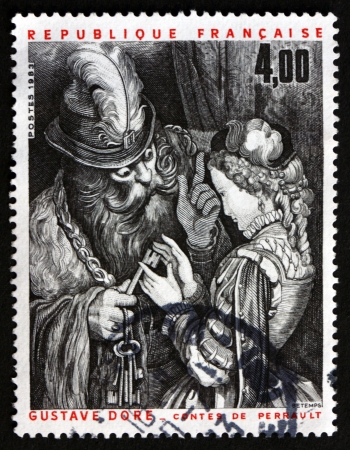 FRANCE - CIRCA 1983: a stamp printed in the France shows Illustration from Perrault's Folk Tales, by Gustave Dore, circa 1983