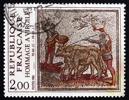 virgil: FRANCE - CIRCA 1981: a stamp printed in the France shows Men Leading Cattle, 2nd Century Roman Mosaic, Virgil's Birth Bimillenium, circa 1981