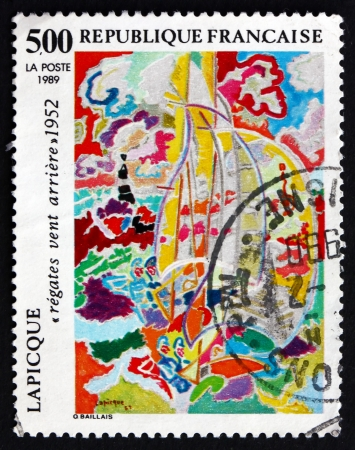 astern: FRANCE - CIRCA 1989: a stamp printed in the France shows Regatta with Wind Astern, Painting by Charles Lapicque, circa 1989
