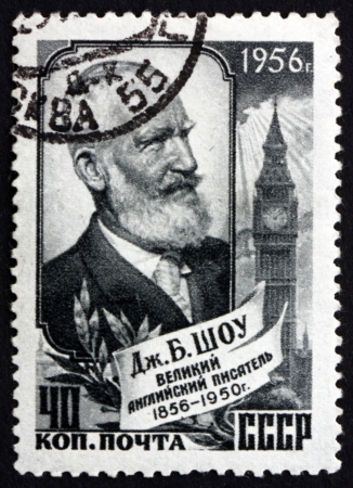 essayist: RUSSIA - CIRCA 1956: a stamp printed in the Russia shows George Bernard Shaw, Irish Playwright, Essayist, Novelist and Writer, Portrait, circa 1956