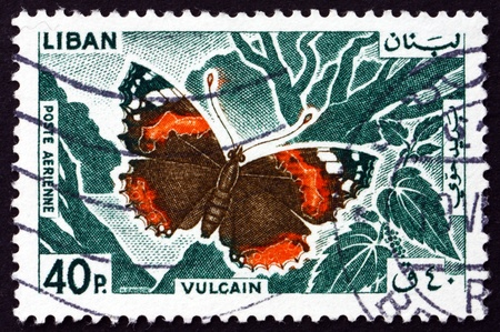 vanessa: LEBANON - CIRCA 1965: a stamp printed in the Lebanon shows Red Admiral, Vanessa Atalanta, Butterfly, circa 1965