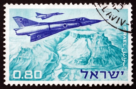 ISRAEL - CIRCA 1967: a stamp printed in the Israel shows Mirage Jet Fighters over Masada, Military Aircraft, circa 1967