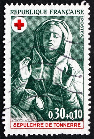 FRANCE - CIRCA 1973: a stamp printed in the France shows Mary Magdalene, Design from 15th Century Tomb of Tonnerre, circa 1973