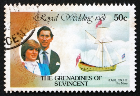 ST. VINCENT  GRENADINES - CIRCA 1980: a stamp printed in St. Vincent Grenadines shows Royal Couple and Royal Yacht the Mary, circa 1980