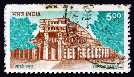 sanchi stupa: INDIA - CIRCA 1994: a stamp printed in India shows Sanchi Stupa, Oldest Stone Structure in India, Buddhist Monument, circa 1994