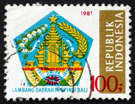 bali province: INDONESIA - CIRCA 1981: a stamp printed in Indonesia shows Bali, Provincial Arms, circa 1981
