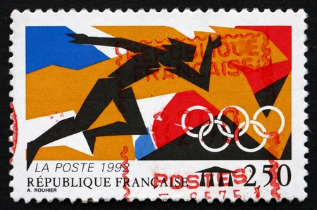 FRANCE - CIRCA 1992: a stamp printed in the France shows Athlete, 1992 Summer Olympics, Barcelona, circa 1992