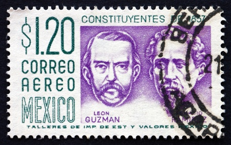 ignacio: MEXICO - CIRCA 1956: a stamp printed in the Mexico shows Leon Guzman and Ignacio Ramirez, Centenary of the Constitution, circa 1956 Editorial