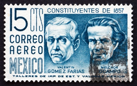 ocampo: MEXICO - CIRCA 1956: a stamp printed in the Mexico shows Valentin Gomez Farias and Melchor Ocampo, Centenary of the Constitution, circa 1956