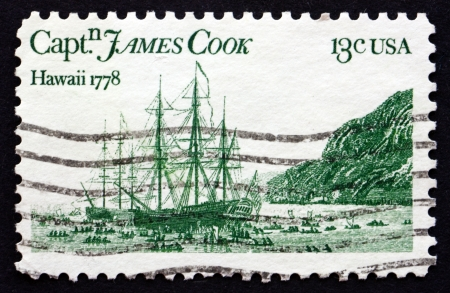 Stamp: Captain Cook and Maori (Captain James Cook's voyages ...