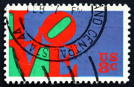 UNITED STATES OF AMERICA - CIRCA 1973: a stamp printed in the USA shows Love, by Robert, Indiana, circa 1973 Editorial