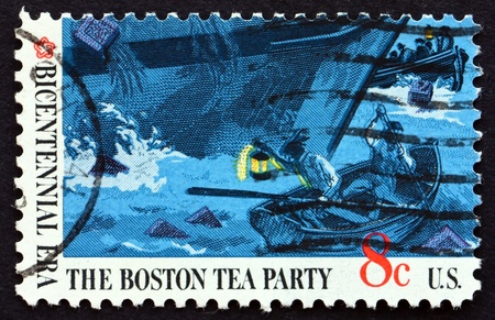boston tea party: UNITED STATES OF AMERICA - CIRCA 1973: a stamp printed in the USA shows Boats and Ship's Hull, Boston Tea Party, circa 1973 Editorial