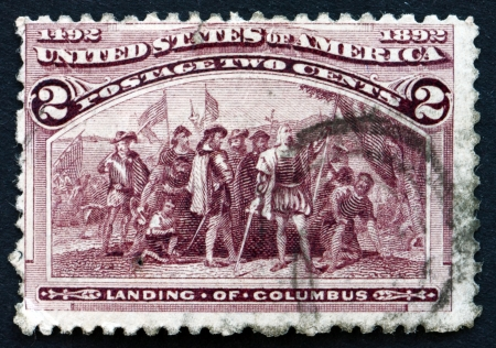 UNITED STATES OF AMERICA - CIRCA 1893: a stamp printed in the USA shows Landing of Columbus, Discovery of America, circa 1893