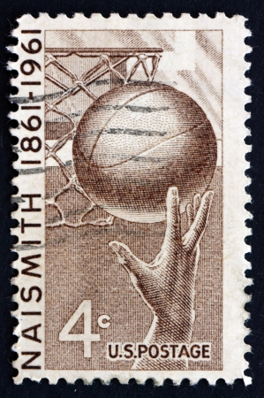 invented: UNITED STATES OF AMERICA - CIRCA 1961: a stamp printed in the USA shows Basketball, James Naismith who Invented the Game in 1891, circa 1961