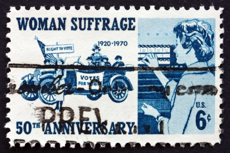 UNITED STATES OF AMERICA - CIRCA 1970: a stamp printed in the USA shows Suffragettes, 1920 and Woman Voter, 1970, 50th Anniversary of the 19th Amendment, circa 1970