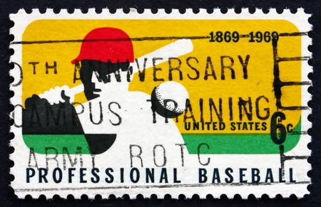UNITED STATES OF AMERICA - CIRCA 1969: a stamp printed in the USA shows Batter, Player in Baseball, circa 1969