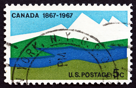 emergence: UNITED STATES OF AMERICA - CIRCA 1967: a stamp printed in the USA shows Canadian Landscape, Centenary of Canada�s Emergence as a Nation, circa 1967