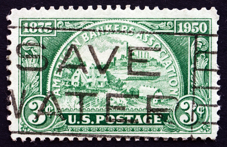 american field service: UNITED STATES OF AMERICA - CIRCA 1950: a stamp printed in the USA shows Coin, Symbolizing Fields of Banking Service, circa 1950