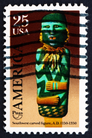 indian postal stamp: UNITED STATES OF AMERICA - CIRCA 1989: a stamp printed in the USA shows Southwest Carved Figure, Mogollon Culture, Mimbres Period, circa 1989