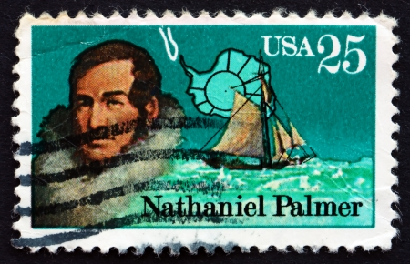 palmer: UNITED STATES OF AMERICA - CIRCA 1988: a stamp printed in the USA shows Nathaniel Palmer, Antarctic Explorer, circa 1988
