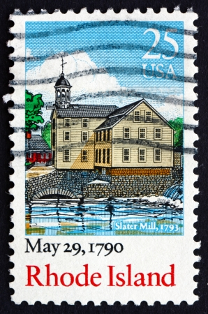ratification: UNITED STATES OF AMERICA - CIRCA 1990: a stamp printed in the USA shows Slater Mill, Rhode Island, May 29, 1790 Bicentennial of the Ratification of the Constitution, circa 1990