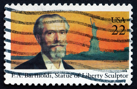 frederic: UNITED STATES OF AMERICA - CIRCA 1985: a stamp printed in the USA shows Frederic Auguste Bartholdi, French Sculptor, Statue of Liberty, circa 1985