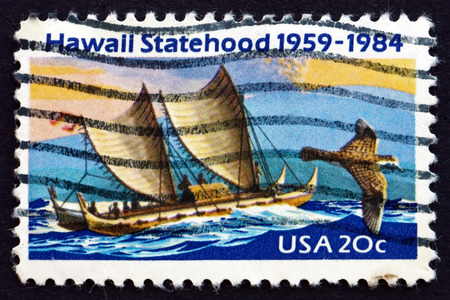 statehood: UNITED STATES OF AMERICA - CIRCA 1984: a stamp printed in the USA shows Eastern Polynesian Canoe, Golden Plover, Mauna Loa Volcano, 25th Anniversary of Hawaii Statehood, circa 1984