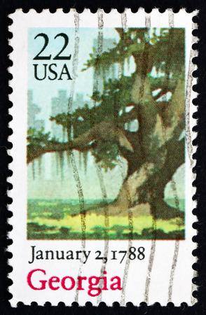 ratification: UNITED STATES OF AMERICA - CIRCA 1988: a stamp printed in the USA shows Live Oak, Georgia, January 2, 1788, Bicentennial of the Ratification of the Constitution, circa 1988