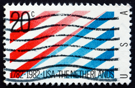 diplomatic: UNITED STATES OF AMERICA - CIRCA 1982: a stamp printed in the USA shows 200th Anniversary of Diplomatic Recognition by the Netherlands, circa 1982 Editorial