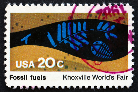 fossil fuels: UNITED STATES OF AMERICA - CIRCA 1982: a stamp printed in the USA shows Fossil Fuels, Knoxville Worlds Fair, circa 1982