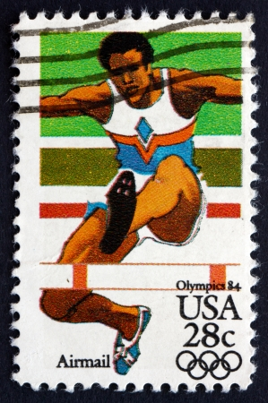 UNITED STATES OF AMERICA - CIRCA 1983: a stamp printed in the USA shows Hurdler, 1984 Olympic Games, Los Angeles, California, circa 1983