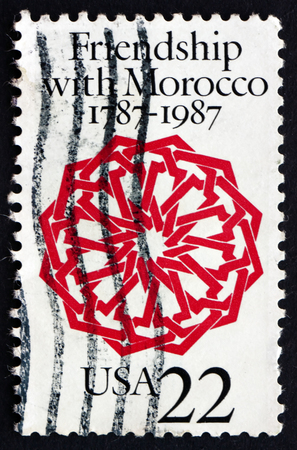 diplomatic: UNITED STATES OF AMERICA - CIRCA 1987: a stamp printed in the USA shows Arabesque, Dar Batha Palace, Fez, Bicentennial of the US-Morocco Diplomatic Relations, circa 1987 Editorial