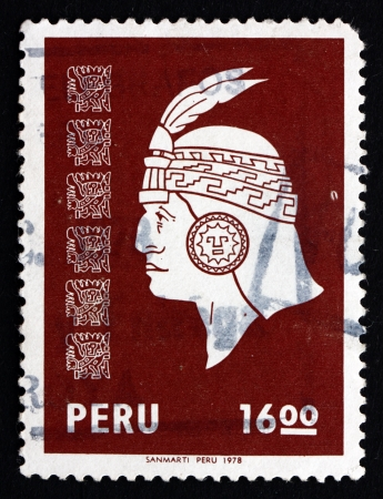 PERU - CIRCA 1978: a stamp printed in the Peru shows Inca Head, circa 1978