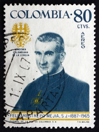 theologian: COLOMBIA - CIRCA 1967: a stamp printed in the Colombia shows Father Felix Restrepo Mejia, Theologian, Scholar, Portrait, circa 1967