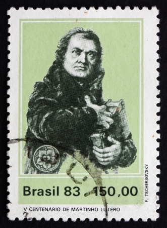reformation: BRAZIL - CIRCA 1983: a stamp printed in the Brazil shows Martin Luther, German Priest, who initiated the Protestant reformation, circa 1983