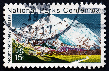 mckinley: UNITED STATES OF AMERICA - CIRCA 1972: a stamp printed in the USA shows Mt. McKinley, Alaska, Centenary of the National Park System, circa 1972 Editorial